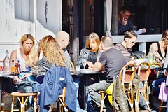 2014-03-08  Rue des archives - le comptoir des archives (P.K. - Paris) Tags: street people mars paris caf french march terrace outdoor pavement candid drinking terrasse sidewalk openair 2014 terrazza