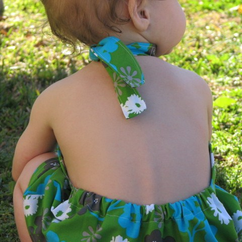 The Halter Dress in Grass-- Rear View