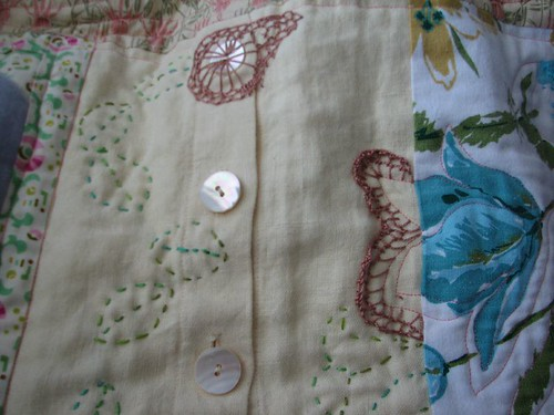 quilting and embroidery details on shawl project