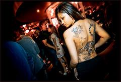 (maginashun) Tags: seattle red flower tattoo female photoshop butterfly dark asian washington tiger adobe nightlife clubbin lightroom openbackdress