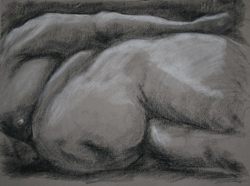 conte: black and white on toned paper