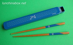 Urara dragonfly blue chopsticks and case