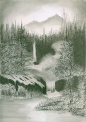 Hidden Falls (adamsart) Tags: trees sky mountains water forest waterfalls graphitedrawings charcoaldrawings hiddenhideaway