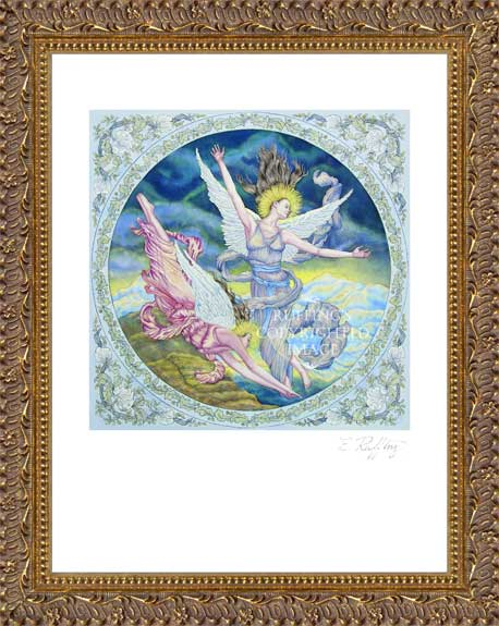 """Angels' Flight"" ER7 Angel Watercolor Print by Elizabeth Ruffing, Framed"