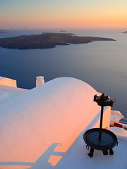 Aegean Sunset (Fira, Santorini) (MarcelGermain) Tags: travel light sunset sea sky white seascape colors geotagged island greek nikon europe shadows horizon santorini greece myfavourites thira fira postadesol grcia   d80 marcelgermain goldenvisions