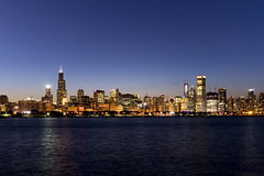 Chicago skyline (spielbergsp) Tags: sunset lake chicago reflection skyline night skyscraper loop michigan searstower milleniumpark alderplanetarium