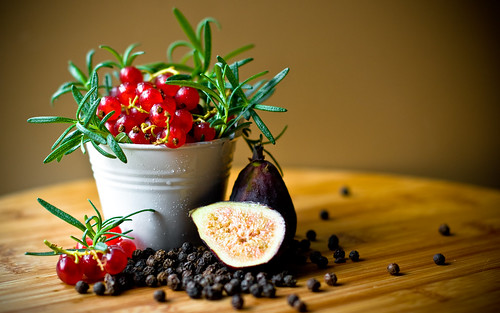 Red Currants with Rosemary, Figs, and Peppercorns