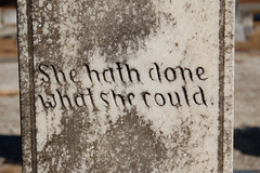 She...hath done what she could (holdit.) Tags: she woman monument cemetery grave graveyard d50 dead words nikon cloudy character tombstone theend ground gravestone granite marble wisdom past patina interred jmichaelraby