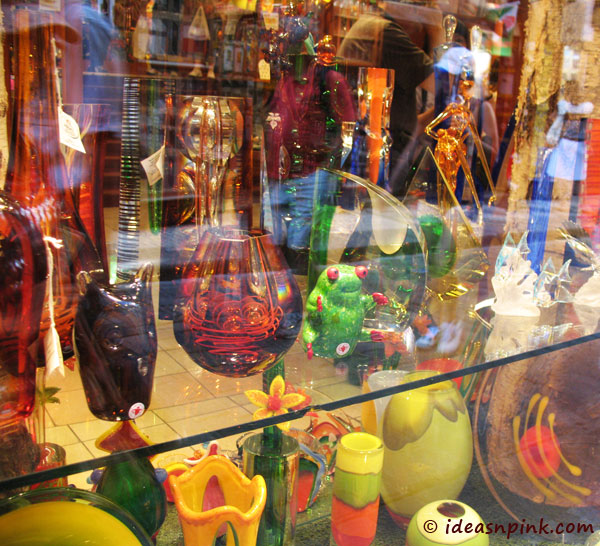 Glass on display at the Old Town, Prague