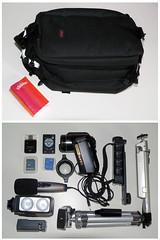 Équipement vidéo d'un journaliste super-mobile (AmiCalmant) Tags: camera light canada mobile video montreal equipment micro mojo journalist videocasting