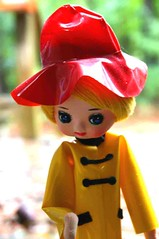 Prepared (for the Storm) (ggmossgirl) Tags: japan vintage pose doll cloth raincoat