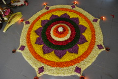 Prize winning flower arrangement (Onam pookkalam) (*shutterbug_iyer*) Tags: india flower festival traditional contest kerala software poo professionals onam arrangements pookkalam nikonstunninggallery indiancolourful cocncordians