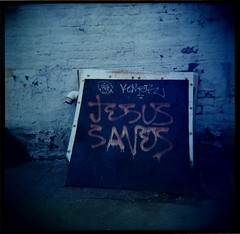 Jesus Saves (Squid Ink) Tags: newyorkcity brooklyn graffiti holga crownheights gothamist