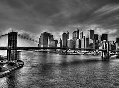 NYC and Brooklyn Bridge (ajagendorf25) Tags: street new york city nyc newyorkcity bridge blackandwhite white black wall brooklyn photoshop canon waterfall high downtown dynamic manhattan brooklynbridge wallstreet s3 range hdr highdynamicrange photomatix