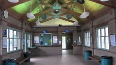 Inside the waiting room of the Metra commuter rail station in Northbrook Illinois. September 2008.