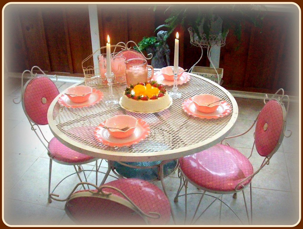 Vintage pink patio set and Hazel Atlas dishes.