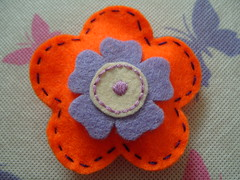 Orange and Lavender Flower Pin (Funky Shapes) Tags: uk orange flower handmade brooch lavender felt badge bloom etsy dsm backpin