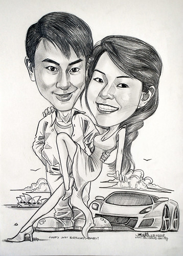 Couple caricatures Ferrari Sydney Opera House