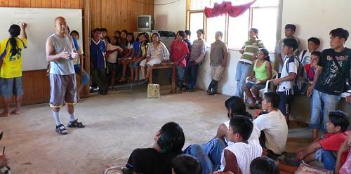 Luiz Hernandez talks to Students at the high school at Sarayaku
