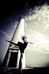 spire (SARAΗ LEE) Tags: blue ballet lighthouse girl clouds hawaii ballerina bodylanguage jeans bigisland kohala hawi hannahw sarahlee legothenego overtheexcellence vingetted vivantvie