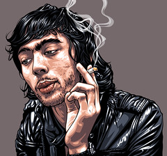 Xavier De Rosnay of Justice Art 2 (Mel Marcelo) Tags: portrait face justice dj vectorart smoke leatherjacket grafx adobeillustrator surfacetoair edbangerrecords xavierderosnay melmarcelo frenchdancemusic meltendo mpyregraphics melitomarcelo