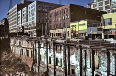 gm_17815 Seattle, Underground Street 1984 (CanadaGood) Tags: seattle blue usa color colour building analog america washington downtown slidefilm 1984 wa kodachrome eighties canadagood slidecube