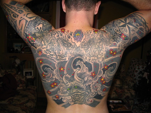 Japanese Tattoo by msf12508. Japanese oni mask koi dragon foo dog back