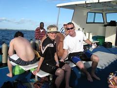 Karen and Matt safely aboard after the dive with sharks. (V-rider) Tags: christmas cruise family smile matt jon underwater joy smiles scuba diving norwegian adventure bahamas nassau freeport ralph majesty sons grandbahama portlucaya ncl rhm unexso vrider