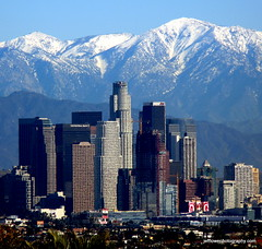 Los Angeles Skyline Snow Capped Mountains (casual clicks) Tags: la losangeles downtownla losangelesskyline snowcappedmountains downtownlosangeles laskyline jefflowephotographycom httpjeffloweartistwebsitescom