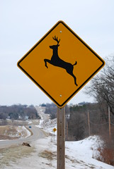 Some days irony just presents itself. (frankwbeard) Tags: sign nikon 6ws sixwordstory newyear iowa deer irony newyearsday desmoines d60