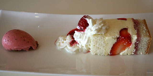 Strawberry shortcake with raspberry ice cream