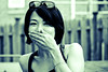 Shyness (TheJbot) Tags: portrait bw woman girl sunglasses japan japanese 50mm shy distillery greenfilter