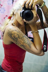126/365 (obo-bobolina) Tags: camera portrait reflection tattoo ink hannah sp 365 selfie 365days