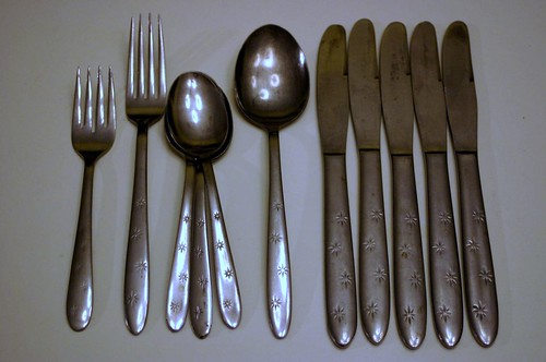 Vintage Stainless Steel Japan Starburst Flatware 'Sapphire'