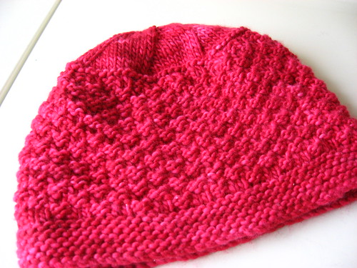 Stella's hat on Malabrigo 'Geranio'