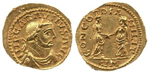 An Aureus of Carausius, minted at Rouen