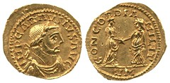 An Aureus of Carausius, minted at Rouen