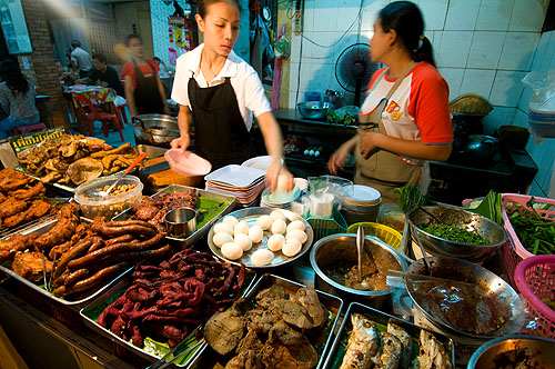 Deep-fried meats at a restaurant in Chiang Maii, Thailand