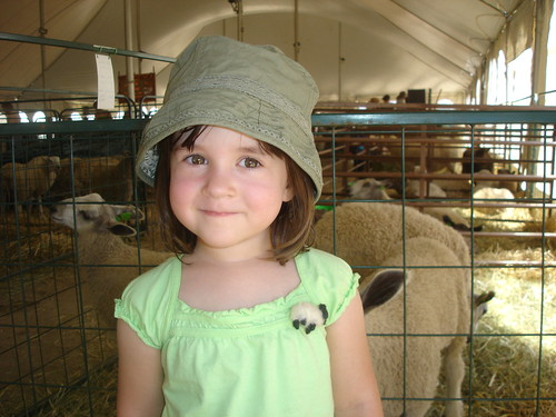 Hannah with sheep