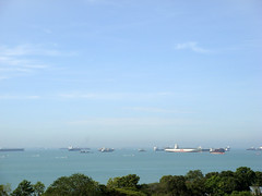 Marine Parade DSC01222 (KWsideB) Tags: sea sky beach nature weather landscape coast marine singapore view ships horizon parade coastal tankers
