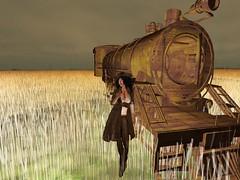 The Train (Rhiamon_Nitely) Tags: wheat country away sl secondlife western second cowgirl far