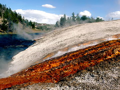 runoff into Firehole River from Excelsior Geyser (Scorpions and Centaurs) Tags: blue usa hot nature water river vent yellowstonenationalpark wyoming geyser hotspring bacteria caliente boiling sulphuric sulphurous fireholeriver midwaygeyserbasin excelsiorgeyser