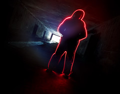 Get up and glow (c@rljones) Tags: longexposure light red urban lightpainting water painting glow adventure torch readybrek figure flare exit llanberis exploration strobe urbex corridors belial strobist bombdump httpwwwrljonescouk