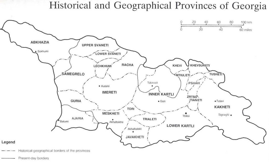 GEORGIA & SOUTH CAUCASUS: MAP: Historical and Geographical Provinces on
