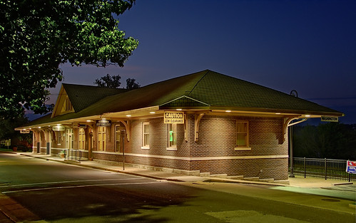 Amtrak train station, in Washington, Missouri, USA - exterior at dusk