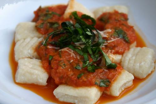 More ricotta gnocchi + roasted tomato sauce
