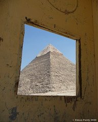 Window to the Pyramids, Giza, Egypt (Simon Purdy) Tags: window sahara archaeology desert pyramid egypt middleeast cairo pyramids framing giza khafre pyramidofkhafre photoartbloggroup