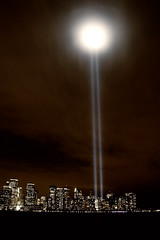 Tribute in Light - B&W (searching4jphotography) Tags: city nyc newyorkcity newyork skyline canon eos jerseycity cityscape worldtradecenter 911 canoneos20d wtc tribute september11 exchangeplace tributeinlight nycskyline 91108 tributeinlight2008