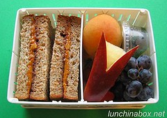 PBJ sandwich bento lunch for live TV shoot