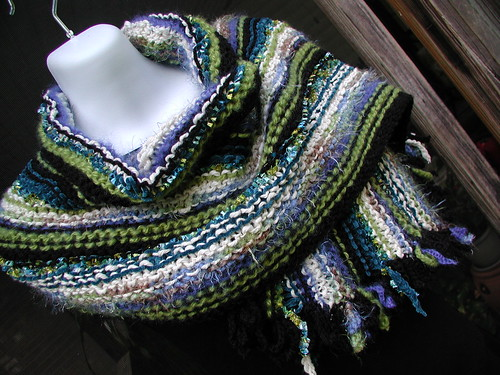 Blue On Black Knit Wrap
